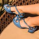女性用 レザーレット PU チャンキーヒール パンプス クローズド足 とともに バックル 穴あき(透かし) 靴