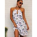 Floral Print Backless Shift Sleeveless Mini Casual Dresses (294257704)