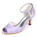 Women's Lace Stiletto Heel Peep Toe Pumps With Buckle Imitation Pearl