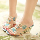 Women's Leatherette Wedge Heel Sandals With Hollow-out shoes