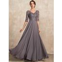 A-Line V-neck Floor-Length Chiffon Evening Dress With Beading Sequins (017228610)