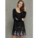 印刷 シフトドレス 長袖 スプリットスリーブ ミニ カジュアル チュニック ファッションドレス (294252655)