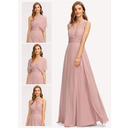 A-Line One-Shoulder Halter V-neck Floor-Length Chiffon Bridesmaid Dress With Ruffle (007221209)