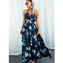 Floral Print A-line Sleeveless Maxi Vacation Skater Dresses (294257750)