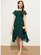 A-Line Square Neckline Knee-Length Chiffon Junior Bridesmaid Dress