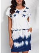 uvázat barvivo Tisk Pouzdrové Krátké rukávy Mini Neformální tričko Módní šaty