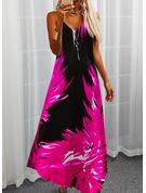 フローラル 印刷 シフトドレス ノースリーブ マキシ カジュアル 休暇 タイプ ファッションドレス