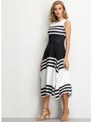 W paski Sukienka Trapezowa Bez Rękawów Asymetryczny Nieformalny Modne Suknie