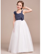 A-Line Sweetheart Floor-Length Chiffon Tulle Junior Bridesmaid Dress With Ruffle Flower(s)
