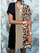 Leopard Color Block Trykk Skiftekjoler Kortermer Mini Elegant Motekjoler