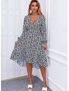 印刷 シースドレス 長袖 ミディ カジュアル ファッションドレス