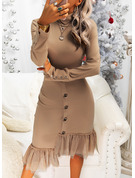 Solid Sheath Long Sleeves Midi Casual Dresses