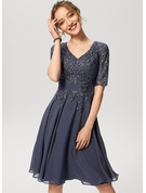 A-Line V-neck Knee-Length Chiffon Lace Cocktail Dress With Sequins