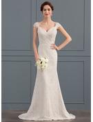 Trumpet/Mermaid Sweetheart Sweep Train Lace Wedding Dress With Ruffle