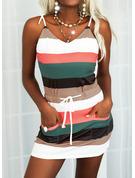 Color Block Skede Ærmeløs Mini Casual Typen Mode kjoler