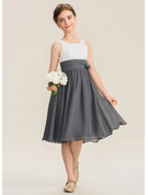 A-Line Scoop Neck Knee-Length Chiffon Junior Bridesmaid Dress With Ruffle Flower(s)