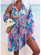 フローラル 印刷 Aラインワンピース 長袖 ミニ カジュアル 休暇 スケーター ファッションドレス