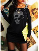 Print Sequins Bodycon Long Sleeves Mini Casual Dresses