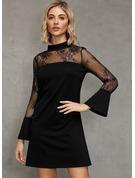 レース 固体 シフトドレス フレアスリーブ 長袖 ミニ リトルブラックドレス パーティー ファッションドレス