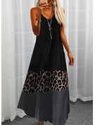 Leopard Color Block Print Skiftekjoler Ærmeløs Maxi Casual Typen Mode kjoler