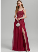 A-Line Square Neckline Floor-Length Tulle Prom Dresses With Sequins Split Front