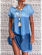 カラーブロック シフトドレス 半袖 ミディ カジュアル チュニック ファッションドレス