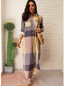Pläd Shiftklänningar Långa ärmar Maxi Fritids Skjortklänningar Modeklänningar