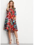 Blomster Print Skiftekjoler 1/2 ærmer Midi Casual Tunika Mode kjoler