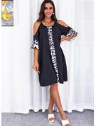 Leopard Print Skiftekjoler 1/2 ærmer Midi Casual Tunika Mode kjoler