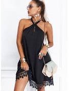 Spitze Einfarbig A-Linien-Kleid Ärmellos Mini Kleine Schwarze Lässige Kleidung Skater Modekleider