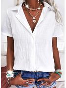 Sólido Solapa Manga Corta Con Botones Casual Camisas Blusas