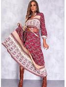 Print A-linjeklänning Långa ärmar Midi Boho skater Modeklänningar