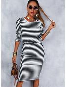印刷 縞模様の ボディコンドレス 3/4袖 ミディ カジュアル ペンシル ファッションドレス
