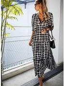 Tisk Šaty Shift Dlouhé rukávy Maxi Neformální Módní šaty