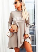 Stampa Abiti dritti Maniche lunghe Mini Casuale Tunica Vestiti di moda