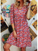 Floral Print Shift Long Sleeves Mini Casual Elegant Tunic Dresses