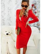 Solid Bodycon Lange ærmer Puf-ærmer Midi Den lille sorte Party Elegant Blyant Mode kjoler