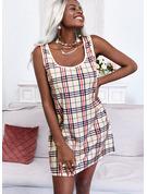 W kratę Suknie shift Bez Rękawów Mini Nieformalny Basen Modne Suknie