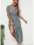 Nadruk Sukienka Trapezowa Krótkie rękawy Maxi Nieformalny Wakacyjna Modne Suknie