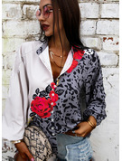 Leopard Floral Print V-Neck 3/4 Sleeves Button Up Casual Shirt Blouses