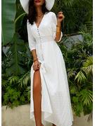 Koronka Nadruk Sukienka Trapezowa Rękawy 1/2 Maxi Nieformalny Wakacyjna Łyżwiaż Modne Suknie