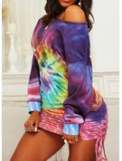 Tie Dye Bodycon Long Sleeves Mini Casual Sweatshirt Dresses
