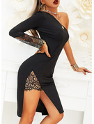 Pouzdrové Dlouhé rukávy Midi Malé černé Módní šaty