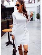 固体 シースドレス 長袖 ミディ カジュアル ファッションドレス