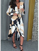 Geometrisk A-linjeklänning Långa ärmar Midi Elegant Modeklänningar