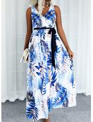 Print Kjole med A-linje Ærmeløs Midi Casual Ferie skater Wrap Mode kjoler