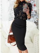 Print Bodycon Long Sleeves Midi Casual Dresses