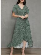 Print A-line Short Sleeves Split Sleeve Asymmetrical Casual Vacation Wrap Dresses