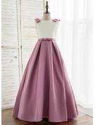A-Line/Princess Sweep Train Flower Girl Dress - Satin Sleeveless Scoop Neck With V Back