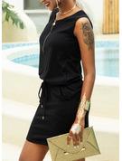 Jednolity Pokrowiec Bez Rękawów Mini Nieformalny Basen Modne Suknie